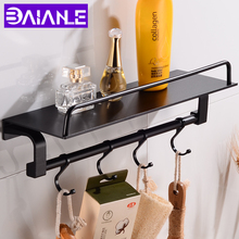 цена на Aluminum Bathroom Shelves Shower Storage Rack Black Wall Mounted Bathroom Shampoo Shelf With 4 Hooks Multipurpose Toilet Racks
