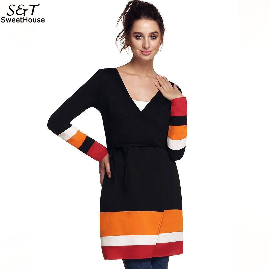 Hip 88cm 60 Women Belt Long Height Sleeve Waist Sweater Casual Coat Long Open With Slim Bust Knit 174cm Front Cardigan 86-in Pullovers from Women ...