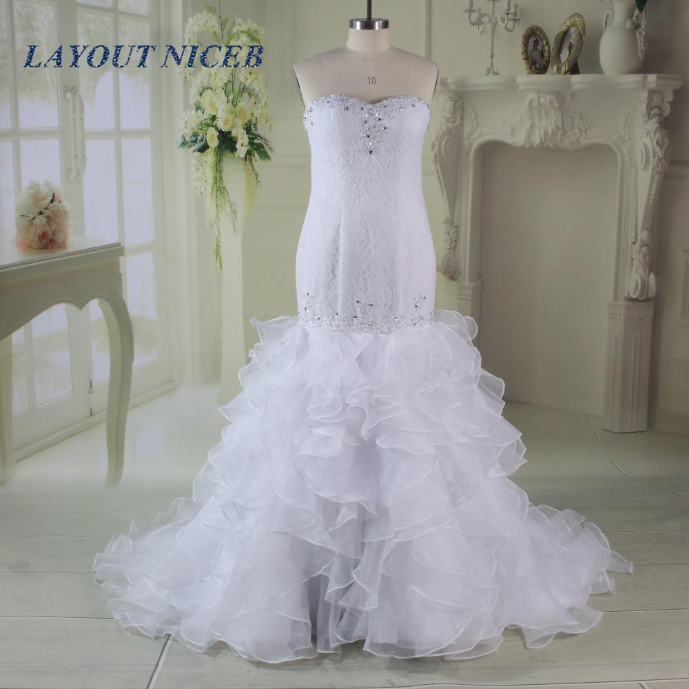 Wedding Gown With Ruffles: Aliexpress.com : Buy Fashion Sheath Lace Organza Tiered
