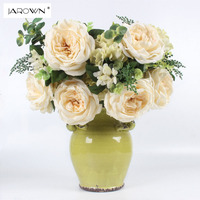 Jarown人工牡丹の花大きな花束ローマバラ人工フローレス偽シルク花葉結婚式ホームパーティーの装