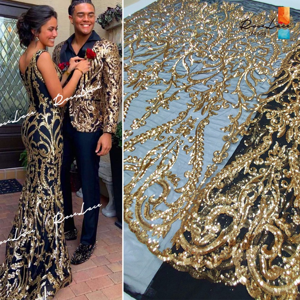 Gold Sequined Embroidered Mehs Tulle Lace Fabric 2019 HIgh Quality African Sequins Net Lace Wedding Prom