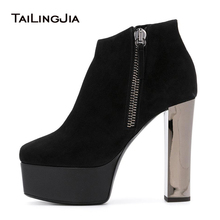 Black Round Toe Platform High Heel Ankle Boots for Women Chunky Heel Booties with Zipper Large Size Spring and Autumn Shoes 2019 glamorous grey velvet platform chunky heel booties women fancy ribbon lace up decoration block heel ankle boots with inside zip