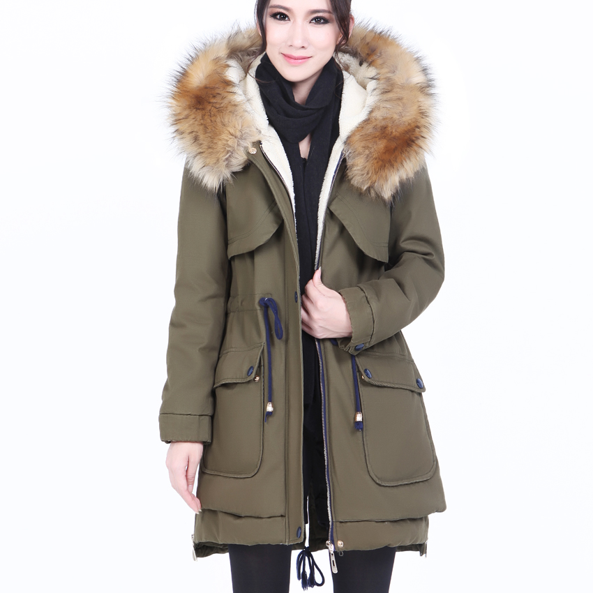 New 2014 Winter Fur Collar Hooded Thick Warm Cotton-Padded Jacket European Fashion Winter Coats Parka Womens Free Shipping B1711 new european men winter coats warm thick hooded coats pure color men coats for free shipping