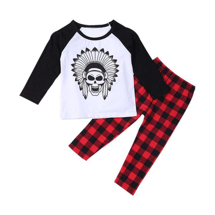 2018 1 компл. Младенческая малышей Детские футболки для мальчиков с рисунком комплекты одежды; Топы + штаны удобная и дышащая 5,30 ...