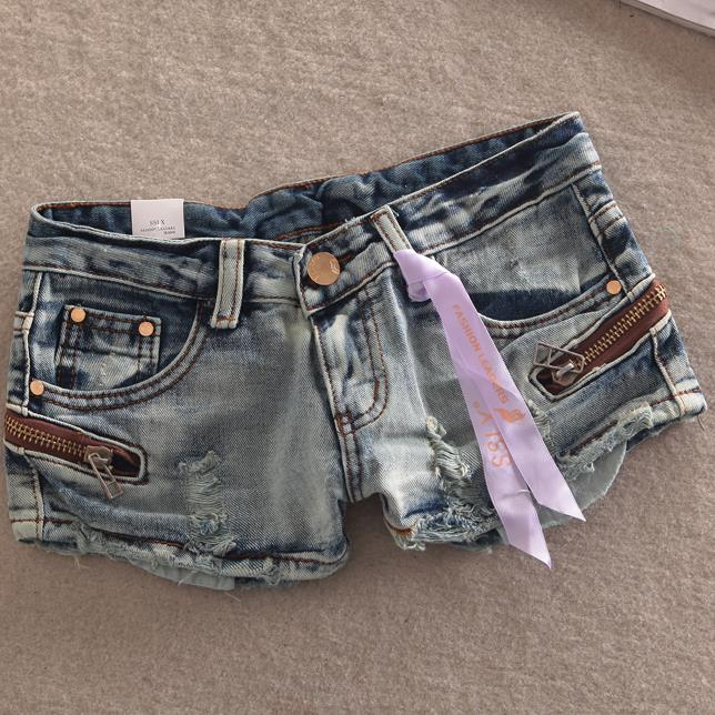 Summer Fashion Denim Shorts Women Hole Low Waist Sexy  Jeans Shorts Plus Size 25-31