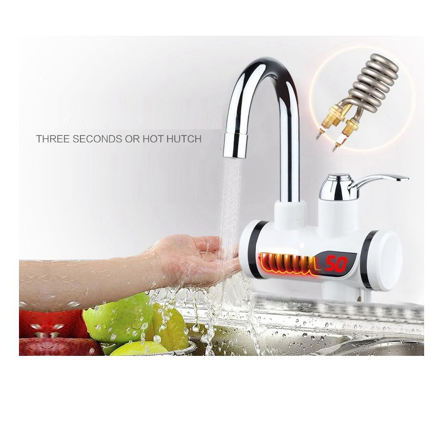 DMWD 3000W Instant Tankless Electric Water Heater Kitchen Faucet Instant Heating Tap LED Digital Display Lateral Type L Size