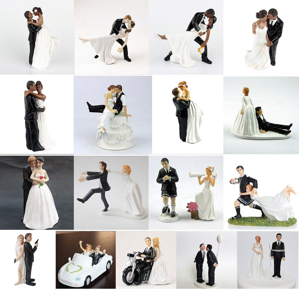 Wiederverwendbare Romantische Schwarz Bräutigam Braut Heiraten Harz Figurine Hochzeit Kuchen Topper Hochzeit Dekoration Hohe qualität
