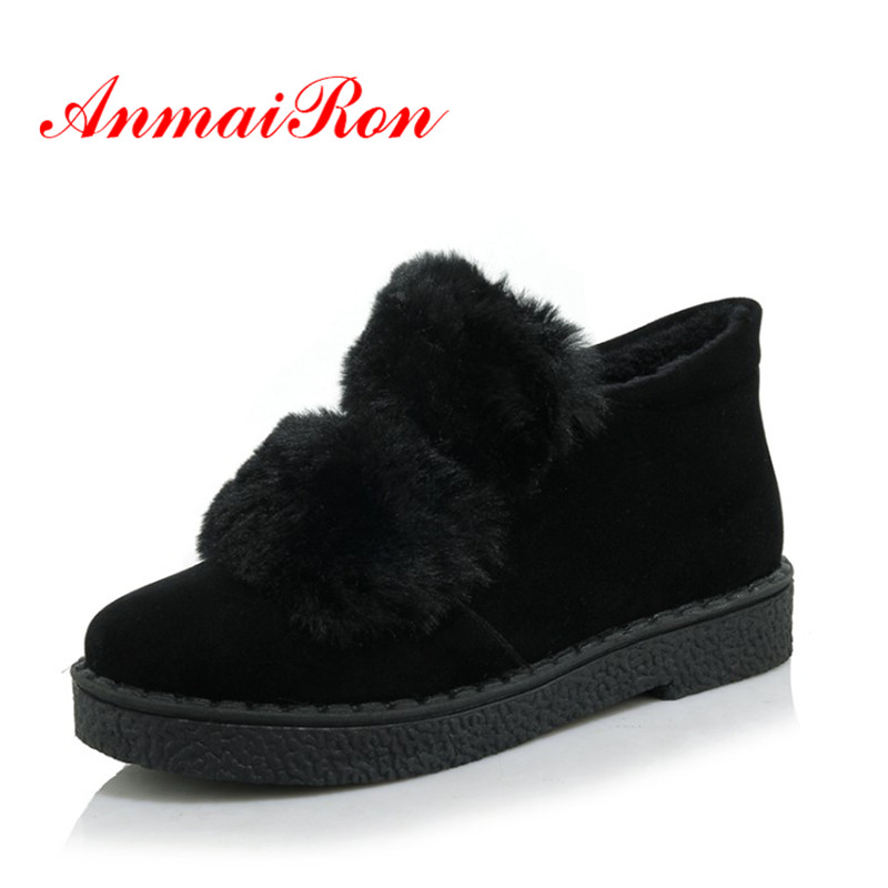 AnmaiRon 2018 New Arrival Fashion Ankle Boots Slip-on Warm Plush Shoes Female Soft Flock Ladies Shoes Black Gray High Quality 2015 new arrival fashion women winter snow boots warm ladies shoes bowtie slip on soft cute shoes purple color sweet boots