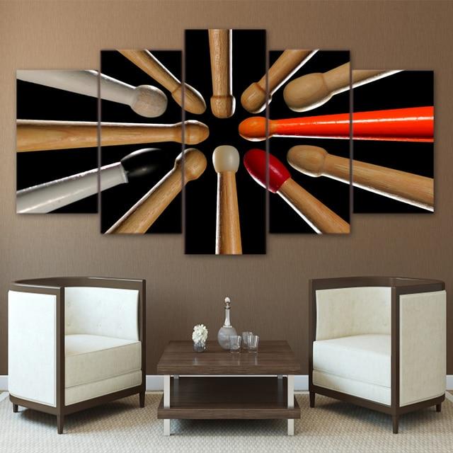 US $5.95 40% OFF|Wandkunst Bilder Wohnkultur Wohnzimmer HD Gedruckt  Gerahmte 5 Stücke Leinwand Holz Drumsticks Gemälde Musik Instrument Poster  in ...