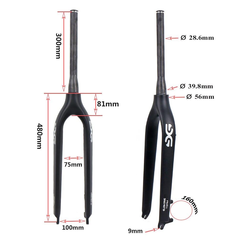 29er Carbon Mountain front fork MTB Tapered Full Carbon fiber Forks 100*9mm fork