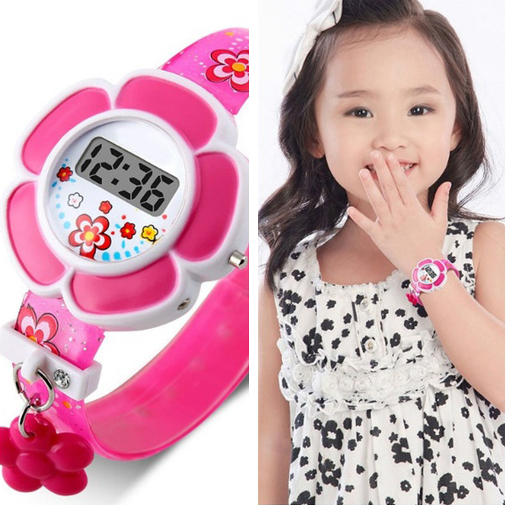 Lovely Flower Cute Boys Girls Kids Sport Watches Cartoon Children Watches Princess Silicone LED Digital Wrist Watches Party Gift