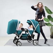 Брендовая детская коляска для близнецов, Можно присесть и сложить ребенка лицом к лицу, на колесиках, двойная, откидывающаяся, может сидеть и лежать