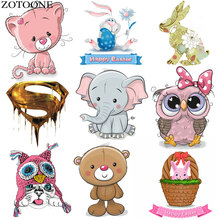 Cute Animal Patches Set Iron on Transfer Unicorn Owl Cat Dog for Girl Kids Clothing DIY Heat Vinyl Stickers D