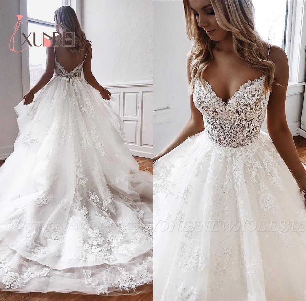 Robe De Mariee Boho Lace Wedding Dresses Sexy V Neck Backless Spaghetti Starps Bohemian Appliqued Train Bridal Gowns