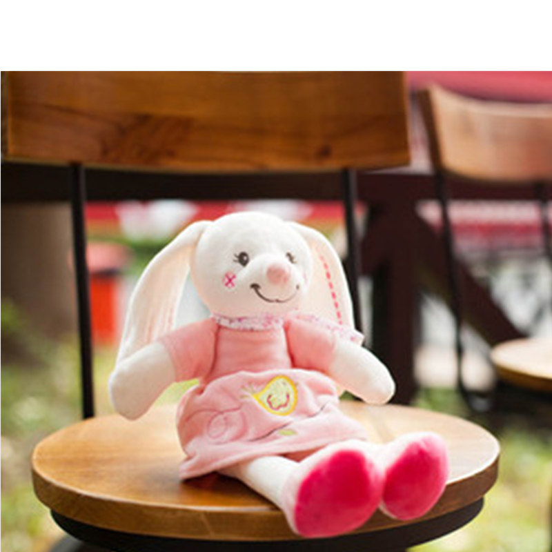 30cm Baby Pink Plush rabbit doll Cute Baby Appease Sleeping doll Bed Soft Play Doll Plush Toy For Children Christmas gift