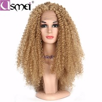 USMEI 26 Inch Lace Front Wig Long Afro Kinky Curly Blonde Wigs 130% Density For Women Free Shipping African American Two colors