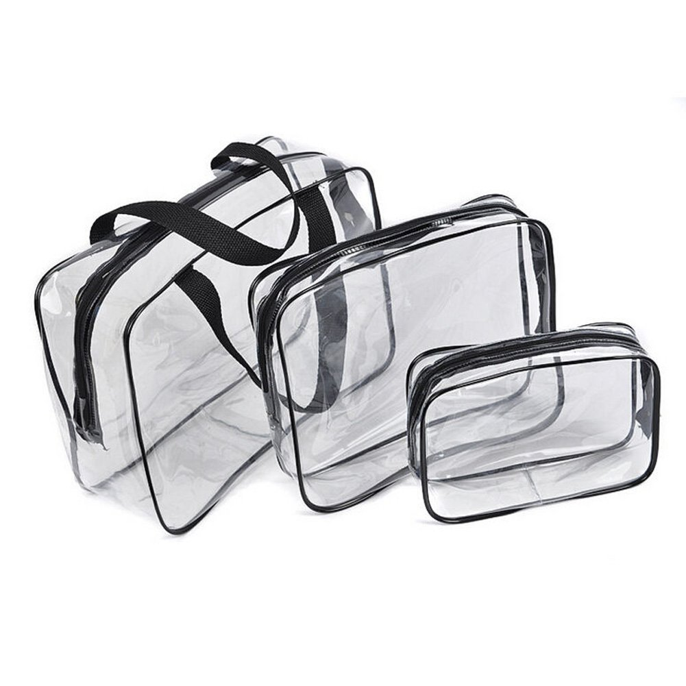 Hot 3pcs Clear Cosmetic Toiletry PVC Travel Wash Makeup Bag Black
