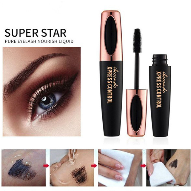 4D Fiber Rimel Eyes Mascara Eyelush Long Lasting Black Waterproof Lengthening Mascara 3D Silk Fiber Eyelush Make Up Rimel 3