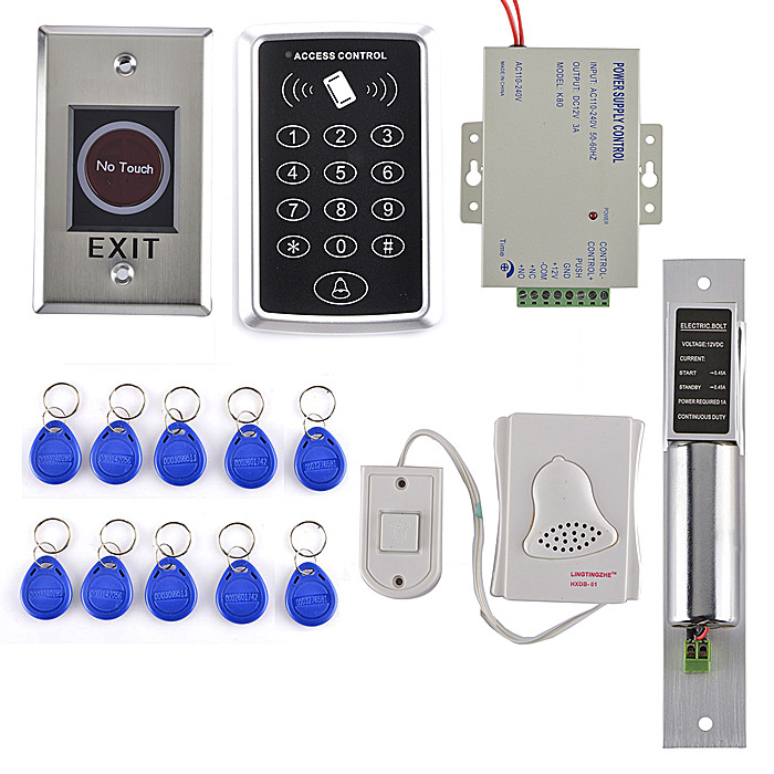 Single Door Access Control System Kit Set RFID Keypad +Drop Bolt Door Lock +Power Supply  +Stainless Steel Exit Button rfid door access control system kit set with electric lock power supply doorbell door exit button 10 keys id card reader keypad