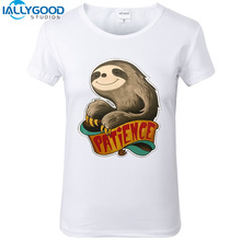 New Summer Fashion Patience Sloth T-Shirts Women Cool Printed Sloth T Shirt Short Sleeve Soft Cotton White Top S1434