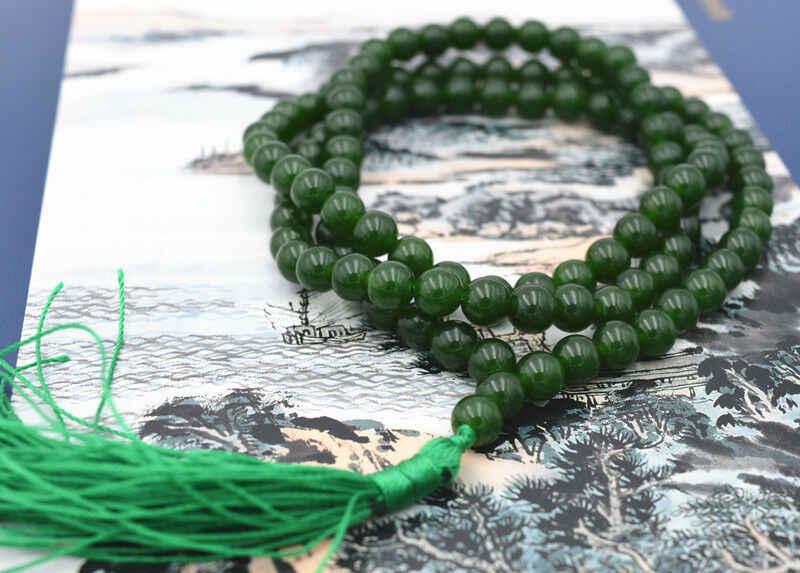 หิน Dark emerald 108 สร้อยข้อมือสร้อยข้อมือ Mala สร้อยคอธรรมชาติ 8 มม.