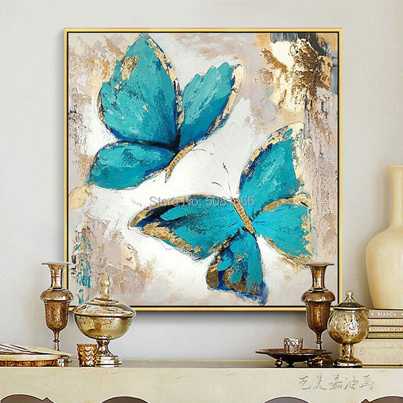 Hand Painted Turquoise Oil Painting On Canvas Abstract Butterfly Picture Blue Modern Decoration Wall Art Living Room Decor