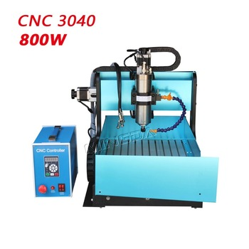 Professional Manufacturer Automatic CNC3040 Milling Machine , 800W Spindel CNC Router Machine + Water Channel + 4th rotaty axis