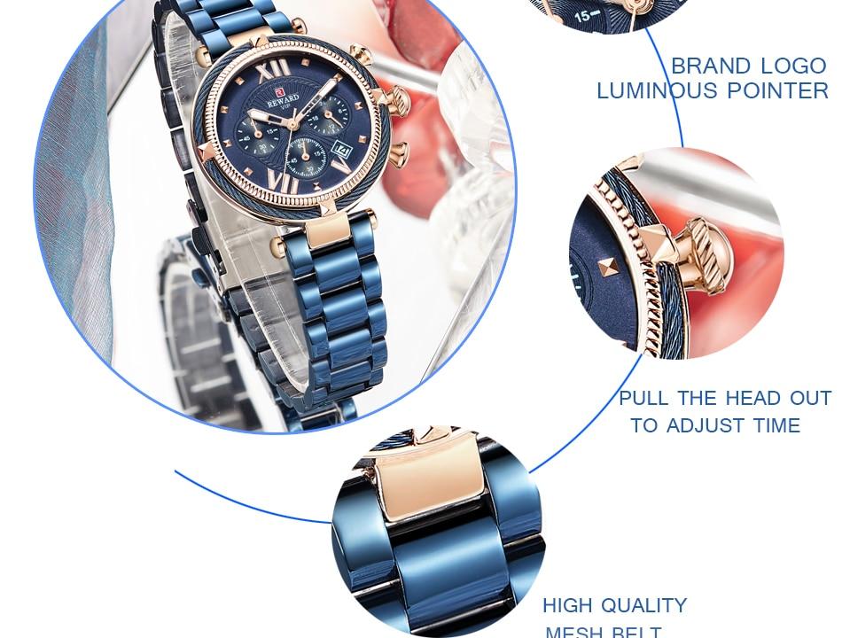 REWARD 63084 Ladies Steel Belt Waterproof Watch 6