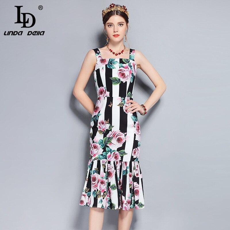 LD LINDA DELLA New Runway Summer Dress Women s Spaghetti Strap Vintage Rose Floral Print Striped