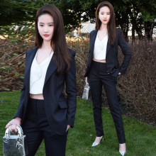 Fashion Slim Blazer and Cropped Pant Suit Female Office Work Wear Star Same Style Trouser Suits