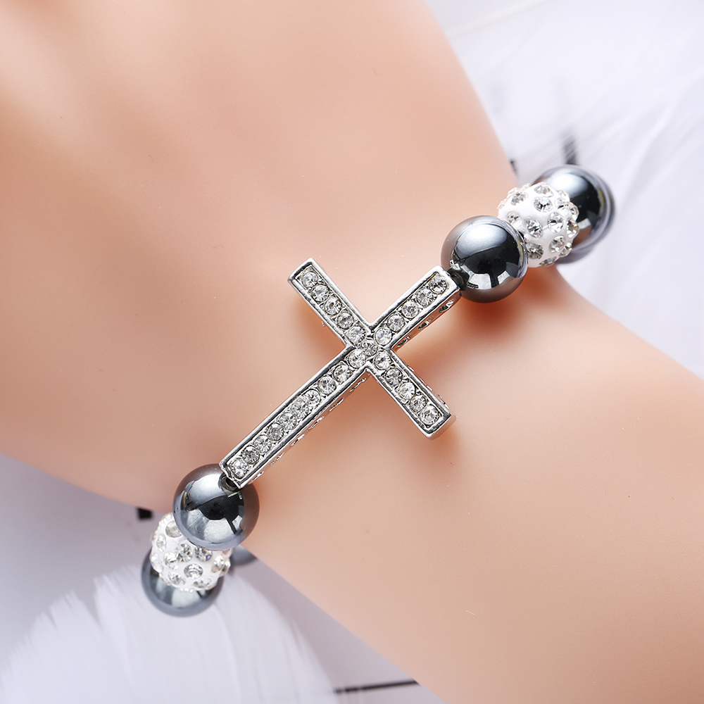 New Fashion Black Glass Beads Cross Elastic Strand Bracelet for Men and Women Trendy Classic Charm Bracelets Bangles Party Gifts in Strand Bracelets from Jewelry Accessories