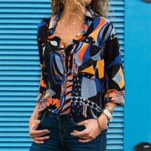 Womens 2019 New Casual Loose Blouses Plus Size Tops Spring Summer Turn-down Collar Ladies Shirt Fashion Long Sleeve Print Tops