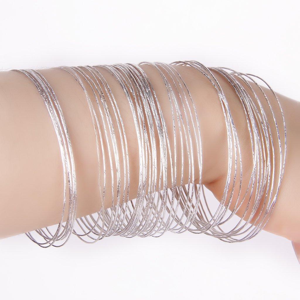 50 Pcs Silver Color Thin Hoop Cuff Bracelets Bangles For Women Hiphop Pulseiras Argola Wristband Pulseras Mujer Moda Accessories