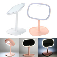 3 In 1 LED Touch Screen Vanity Makeup Mirror With LED Lights USB Chargeable Table Colorful