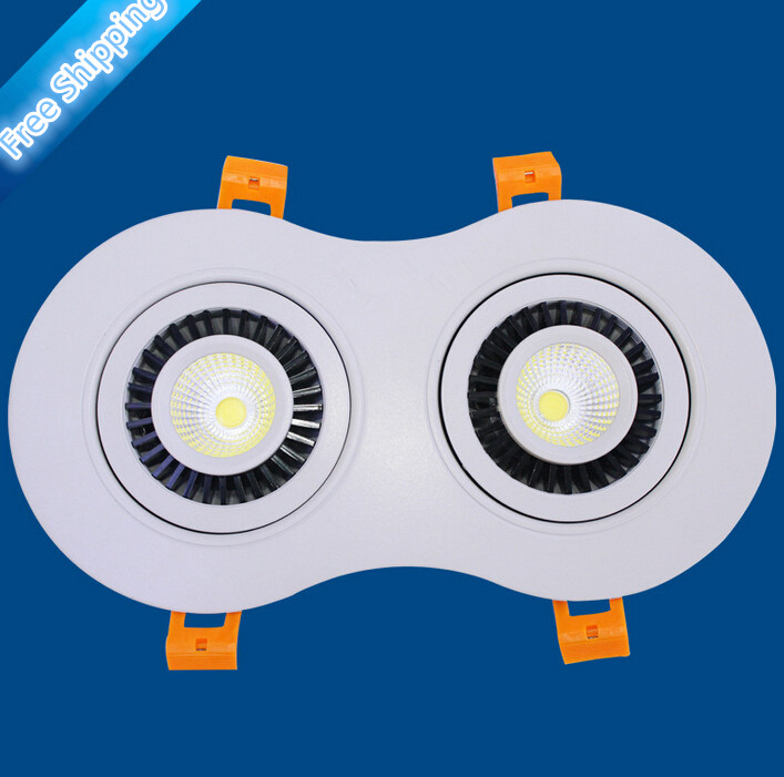 Free Shipping 20W Led COB Ceiling Recessed Down Light Lamp 2X10W Dimmable LED Double Warm White / White / Cold White AC85-265V wbr 0007 cob 680 750lm 7w 85 265v rotatable led warm white ceiling down light cold forging aluminum