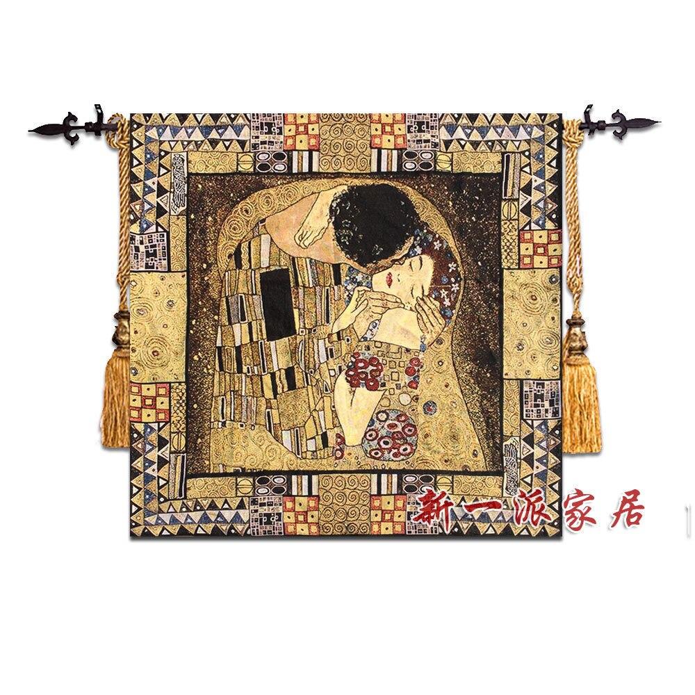 132x138cm 구스타프 클림트 키스 세계 유명한 회화 벽 태피스트리 벽 교수형 벨기에 보헤미안 장식 모로코 장식 벽 카펫-에서태피스트리부터 홈 & 가든 의  그룹 1
