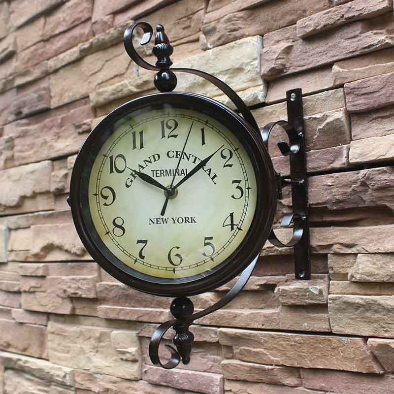 Vintage Decorative Double Sided Metal Wall Clock Antique