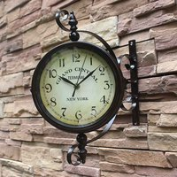 Vintage Decorative Double Sided Metal Wall Clock Antique Style Station Wall Clock Hanging Clock Bird Double sided Wall Clock