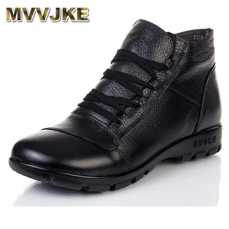 MVVJKE khởi động Mùa Đông phụ nữ chính hãng da mắt cá chân phẳng khởi động 2017 mới thời trang cotton giày phụ nữ tuyết khởi động phụ nữ khởi động