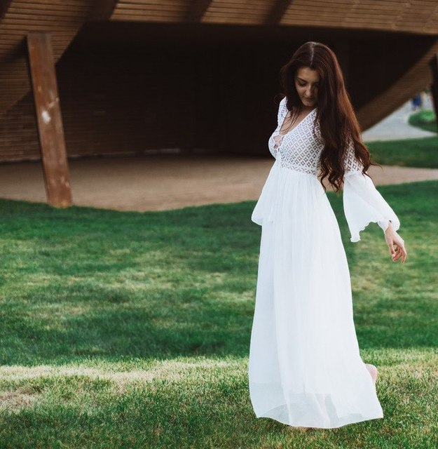 Women Spring long Dress Boho Expansion High-Waist zipper Pleated Tassel Hollow Patchwork Lace bow voile solid white beautiful
