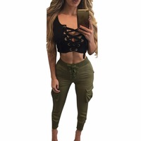 HU GH 2017 New Summer Style Black Sexy Crop Women Tops Short Ladies Vest Female Bandage