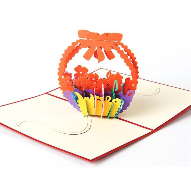 10pcs Flowers Basket 3d Pop Up Paper Laser Cut Greeting Gift Happy