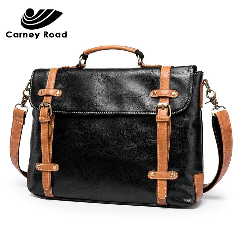Luxury Brand Pu Leather Vintage Men Briefcase Fashion Men's Handbag Office Tote Messenger Bag For Men 2019 Casual