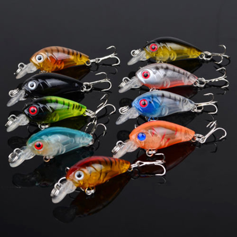 9pcs font b Fishing b font Lures Bass CrankBait Crank Bait Tackle Fish Hooks top water