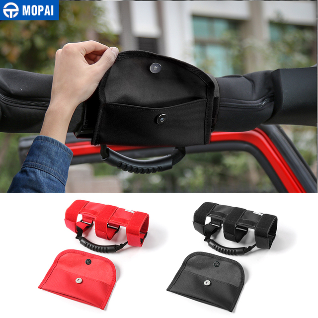 MOPAI ABS+Oxford Car Interior Roof Armrest Grab Handle With Storage Bag For Jeep Wrangler TJ CJ YJ JK JL Car Styling