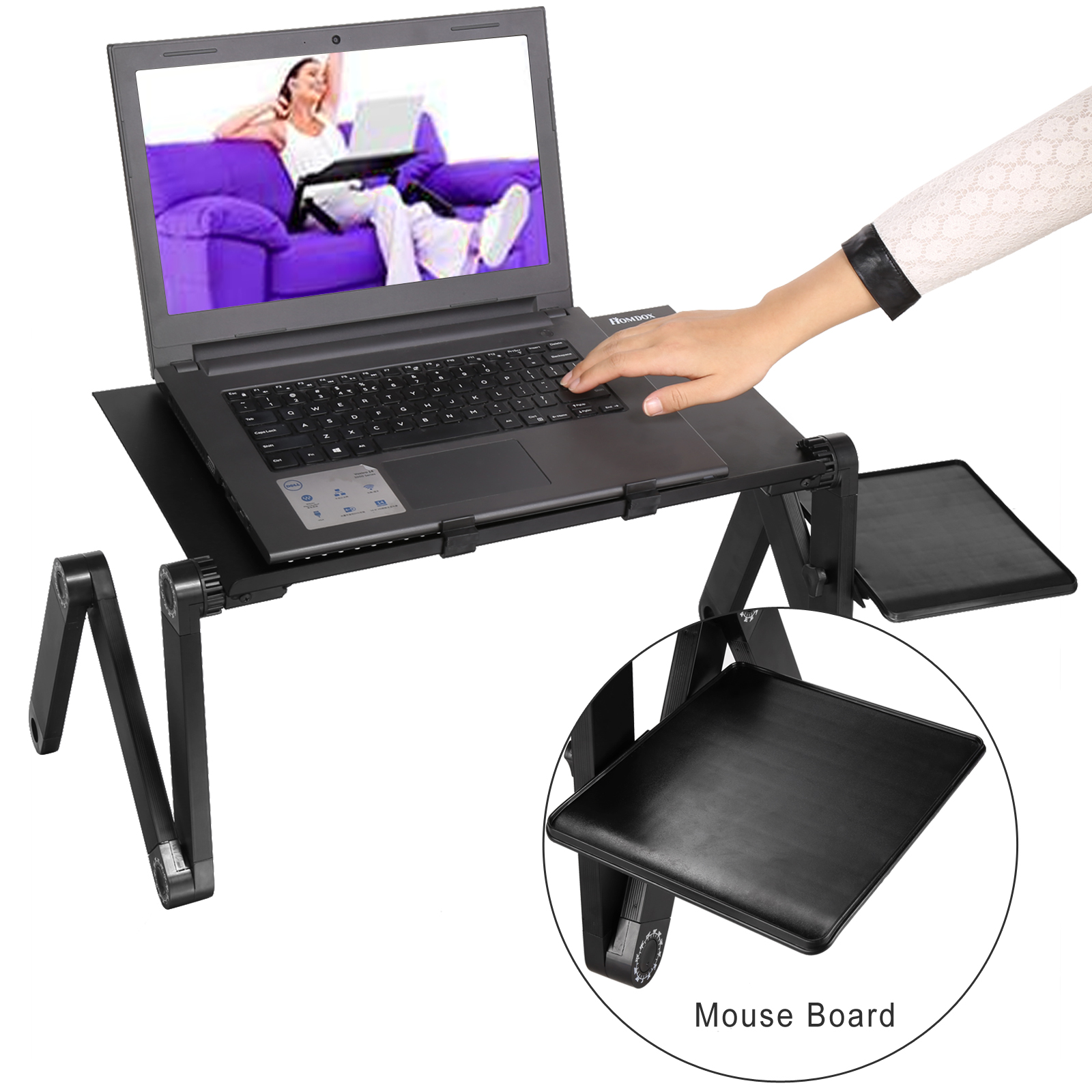 Portable Foldable Adjustable Folding Table For Laptop Desk Computer  Notebook Stand Tray For Sofa Bed Black With Fan Mouse Pad