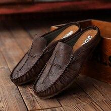 Classic Designer Sneakers Men Black Slip On Men Pu Leather Footwear Half Drag Men Shoes Rubber Bottom Men Youth Casual Shoes цена 2017