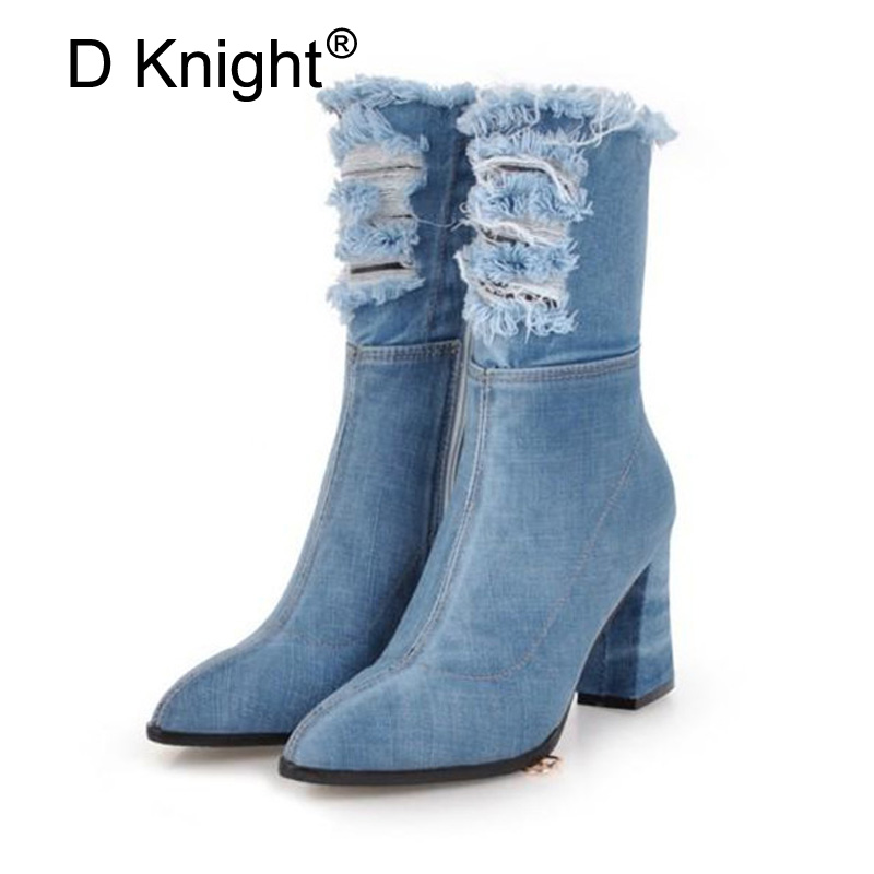 Black Blue light Demin Caldi Zip Blu Donna Nero N83 Punta Boot Di Spessore Sexy Signora MidVitello Tacchi Delle N83 Donne Invernali N83 dark A Modo Alti Pattini Della Stivali Tacco Scarpe g7yYbf6