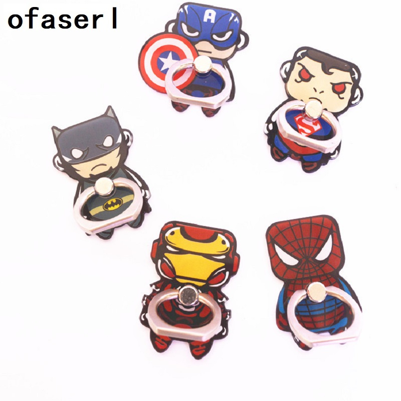 Superman Universal Stent Accessories Mobile Phone Holder Stand Finger Ring Magnetic For Cute Cell Smart Phone Holder Freeing