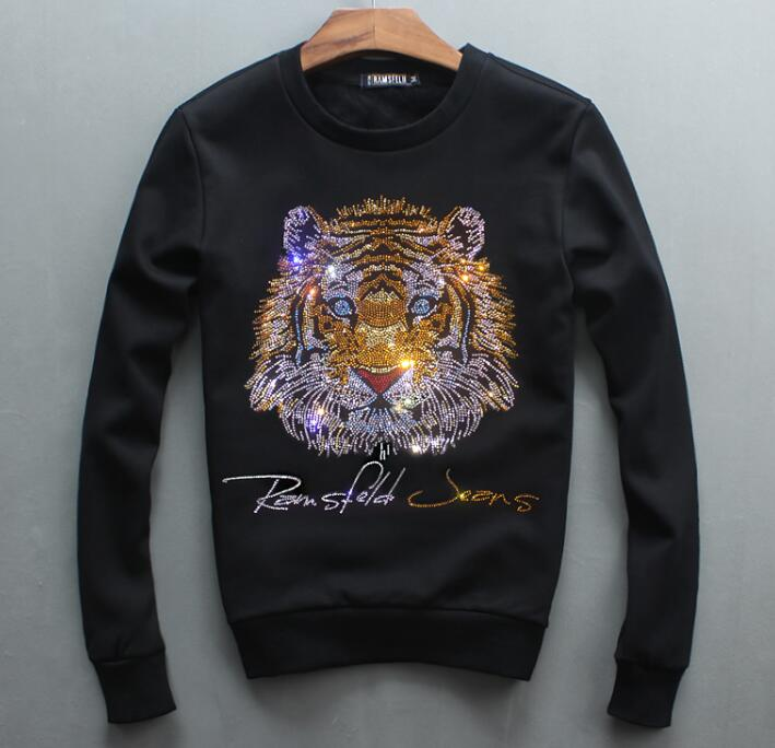autumn of 2018 hoodies new men's head round neck sweatershirt Diamonds  Tiger youth leisure hoody-in Hoodies & Sweatshirts from Men's Clothing    1